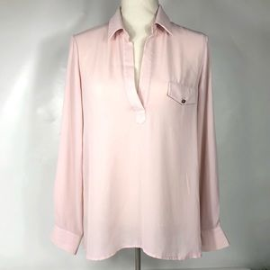 Bellatrix pastel pink top V neck, pastel, sheer.